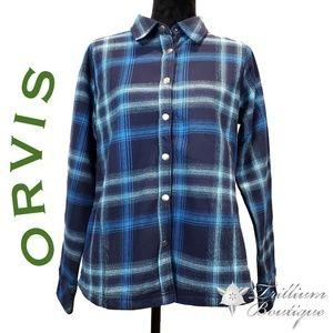 Orvis Women's Plaid Fleece Lined Shirt Jacket Blue